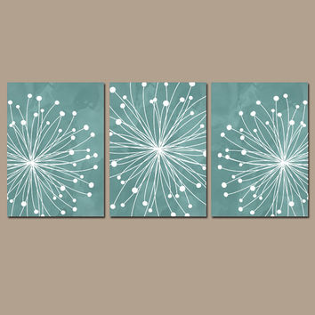 DANDELION Wall Art CANVAS Or Prints Aqua Watercolor Bedroom Pict