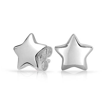Celestial USA Patriotic Rock Star Stud Earrings 925 Sterling Silver