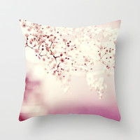 pink linen Throw Pillow by ingz