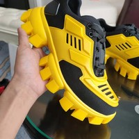 PRADA Women Men Fashion Casual Sneakers Sport Shoes Yellow Black Size 35-46