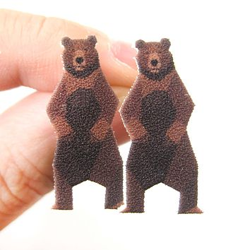 Brown Bear Animal Illustration Stud Earrings | Handmade Shrink Plastic