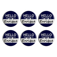 Enrique Hello My Name Is Plastic Resin Button Set of 6