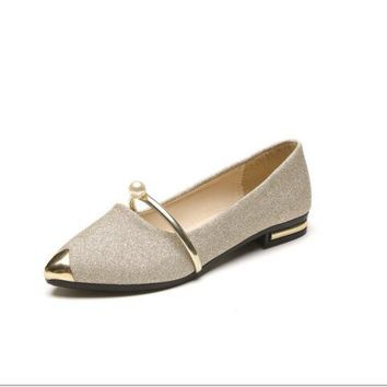 Ms. Spring Crystal Summer NEW fashion flats Golden Black Silver 28e2cbcb3a