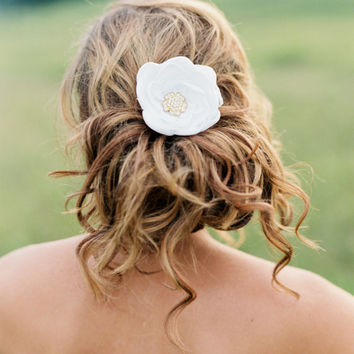 Bridal Silk Flower Clip with Gold Crystal. Bridal Headpiece. Bridal Flower Hair Accessory.