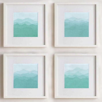 Turquoise Abstract paintings. Set of 4 paintings (size 8x8). Abstract Nature. Square painting. Mint. Blue. Sea. Montains. 8x8 Wall decor.