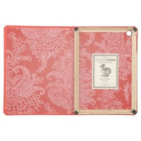 Oriental red coral paisley pattern