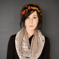 Okapi Infinity Scarf - Gravel and White - modern native tribal hand printed jersey infinity circle scarf - by Bark Decor