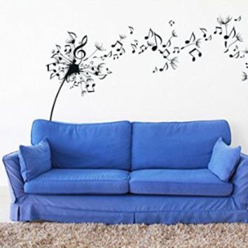 Wall Decal Vinyl Sticker Modern Dandelion Flower Music Notes Sound Gift V362