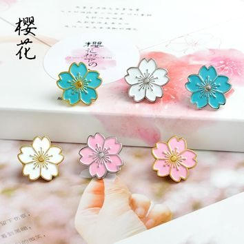 Trendy Colorful Cherry Blossoms Flower Brooch Pins Buckle Gold silver Enamel Denim Jacket Shirt Collar Pin Badge Jewelry Gift For Kids AT_94_13