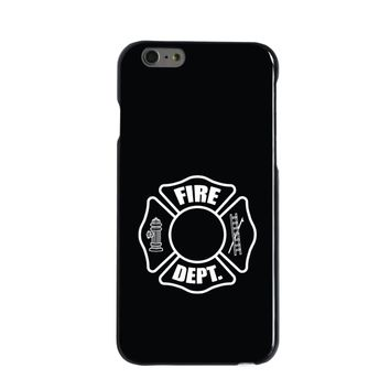 DistinctInk® Hard Plastic Snap-On Case for Apple iPhone - White Fire Department