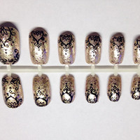 Champaign Blush Glitter Lace Design Press On False Nails Fake Nails