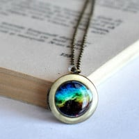 Vintage Style Galaxy Nebula Resin Locket Necklace , Glass Cabochon Locket Necklace
