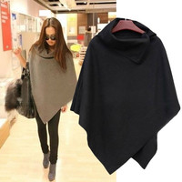 New Women Fashion Cape Poncho Cloak Coat Tops Jackets Outwear Overcoats Gray Black Z_G SV010765