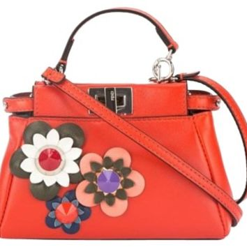 Fendi Peekaboo Micro Red Cross Body Bag 42% off retail