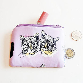 Small Make Up Bag, Cat Pouch, Zipper Pouch, Gift for Cat Lover, Small Cosmetic Pouch, Coin Purse, Change Pouch, Cat Pouch, Gift for Mom,