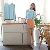 Women New Elegant Doll Collar Button Down Chiffon Long Sleeve Blouse Tops D_L