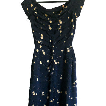 Vintage Dress Navy Blue with Ivory Paint Splatter Print - Tiered Fabric Design with Boatneck and Cap Sleeves Vivian-Lee Originals