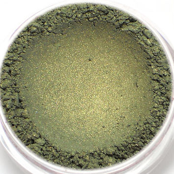 "Green Eyeshadow with Gold Shimmer - ""Huntress"" - Vegan Mineral Eyeshadow Net Wt 2g Mineral Makeup Eye Color Pigment"