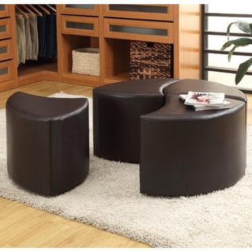 Homelegance Strand 4-Piece Cocktail Ottoman w/ Casters