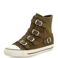 Buckled Suede High-Top Sneaker, Military - Ash