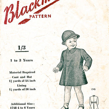 1950's Hat And Double Breasted Coat Pattern For Children - Boys Girls - Vintage Sewing Pattern - Age 1 To 3 Years