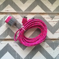 New Super Cute White & Black ZigZag Designed USB Wall Connector + 10ft Hot Pink Braided Samsung Galaxy S5 Cable Cord