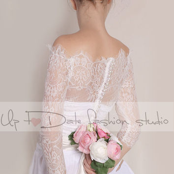 Plus size Off-Shoulder   milky white wedding bolero/ French Chantilly Lace /bridal shrug /jacket 3/4  sleeve