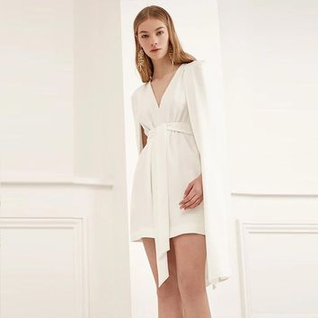 Fashion simple solid color domineering cloak dress