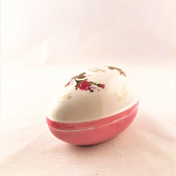 Vintage Norleans Egg Shaped Pink & White Trinket Box Floral Pattern
