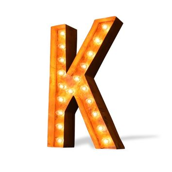 "24"" Letter K Lighted Vintage Marquee Letters (Modern Font/Rustic)"