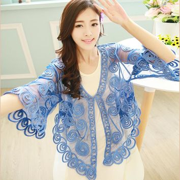 Women Lace Stitching Embroidery Floral Cardigan Half Flare Sleeve V Neck Beach Holiday Sheer Coat