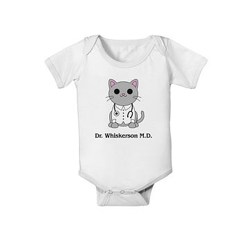 Dr Whiskerson MD - Cute Cat Design Baby Romper Bodysuit by TooLoud