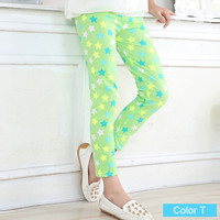 Green with Multi Color Star Girls Pattern Leggings