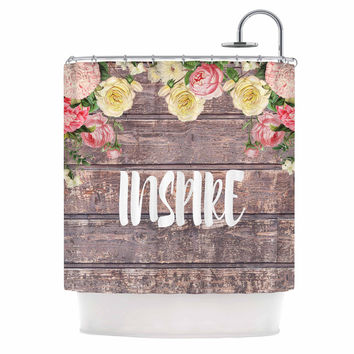 "Suzanne Carter ""Inspire"" Contemporary Typography Shower Curtain"