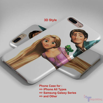 Tangled Rapunzel and Flynn - Personalized iPhone 7 Case, iPhone 6/6S Plus, 5 5S SE, 7S Plus, Samsung Galaxy S5 S6 S7 S8 Case, and Other
