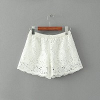 MapleClan Hollowed Floral Lace Boxers Cover Up Shorts
