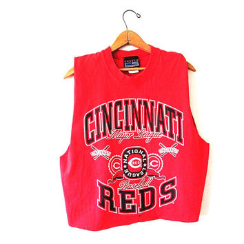 Wms Vintage 1990s CINCINNATI REDS National League MLB Baseball Crop Top Tank Top Sz L
