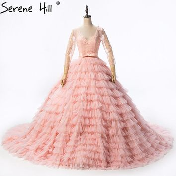 Long Sleeves Peach Sexy Tulle Wedding Dress Sequined Tiered Photography Bridal Gown