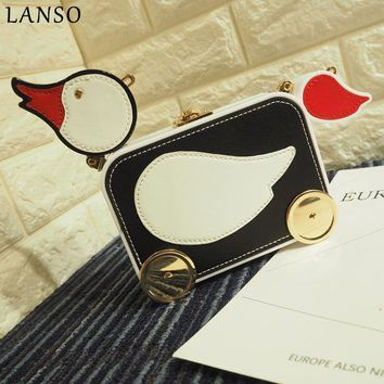 LANSO Cartoon Chain Bag Fashion Cute Duck Elephant  Design Messenger Bag Unique Shoulder Handbags Lady Party Purse Clutch Bags