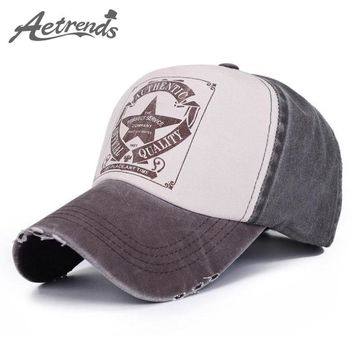 Trendy Winter Jacket [AETRENDS] 6 Colors Star Patchwork Baseball Cap Snapback Men Outdoor Tennis Hats Sports Woman Cap Cotton Bones Custom Hat Z-1462 AT_92_12