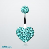 Tiffany Inspired Heart Multi-Gem Belly Button Ring