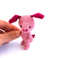 amigurumi pink pig crochet toy animal pig doll stuffed pig plushie pig gift for children small doll pig miniature pet cute cuddly doll soft