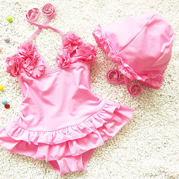 2pcs Baby Girls Swimwear Kids Swimming Bikinis Siamese skirt type swimsuit one piece lace sweet Bathing Suit Swimsuit with Cap