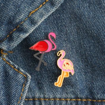 Trendy 2 Pcs/set Red Pink Flamingo Button Brooch Pins Denim Jacket Clothing Cartoon Brooches Pin Badge for Women Girls Fashion Jewelry AT_94_13