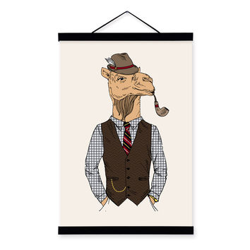 Camel Vintage Retro Gentleman Animal Portrait Hipster A4 Framed Canvas Painting Wall Art Prints Picture Poster Hanger Home Decor