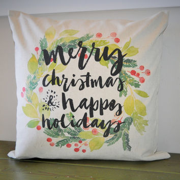 Merry Christmas Watercolor Pillow Cover