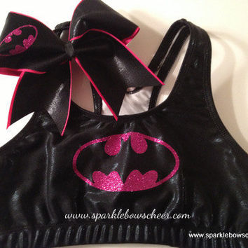 Hot Pink Batty Super Hero Metallic Sports Bra by SparkleBowsCheer