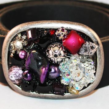 Womens Belt Buckle - Jeweled Belt Buckle - Vintage Jewelry