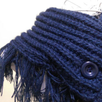 Navy Blue Crochet Scarf With Button, Navy Blue Tassel scarf, Navy Blue Scarf,Navy Blue Knitt scarf,Navy Blue Chunky Scarf,Chunky Neck Warmer