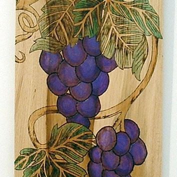 Wine Room Decor, Grapes and Vines, Pyrography Art